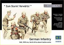 Master Box Wwii Dak German Infantry N. Africa 5 Figure Model Building Kits 1:35 Scale