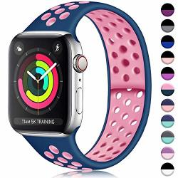 Ilopee Sweat-proof Sport Band Compatible With Apple Watch 38MM 40MM Series 5 4 3 2 1 Sky Blue rose Pink S m