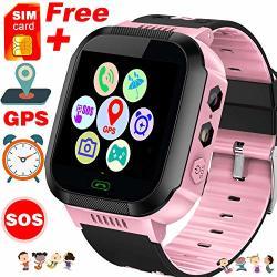 Hyanwoo Kids Smart Watch Phone - Free Sim Card Smartwatches For Boys Girls Gps Tracker Watch Wrist Camera Sos Anti-lost Alarm Di