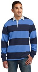 Sport-Tek Classic Long Sleeve Rugby Polo. ST301 True Navy Carolina Blue L