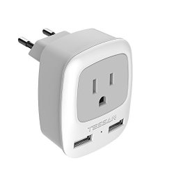 European Travel Plug Adapter Tessan International Power Plug With 2 USB Ports 3 In 1 Ac Outlet For Usa To Most Of Europe Eu
