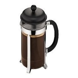 Bodum Caffettiera - French Press Cafetiere - Heat Resistant Borosilicate Glass With Black Handle And Lid - 8 CUPS 1.0L