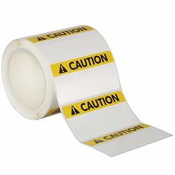 "Avery Caution Header Sign Roll Of 350 Labels For Thermal Transfer Printers 4"" X 2"" 61216"