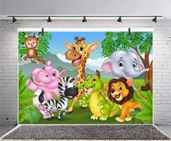 Leyiyi 10X8FT Photography Background Cartoon Birthday Backdrop Zoo Animals Children's Day Party Jungle Zebra Elephant Lion Birds Grassland Mountain Ba