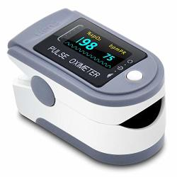 Oximeter Blood Oxygen Saturation Monitorheart Rate And Fast SPO2 Reading Oxygen Meter With Oled Screen Batteries And Lanyard Blue