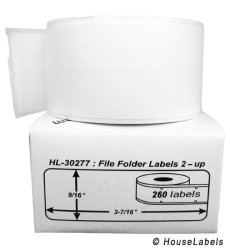 """HouseLabels 15 Rolls 260 Labels Per Roll Of Dymo-compatible 30277 File Folder Labels 2-UP 9 16"""" X 3-7 16"""" -- Bpa Free"""