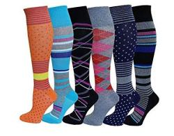 6 Pairs Pack Women Sports Travelers Anti-fatigue Graduated Compression Knee High Socks 9-11 New Assorted Design