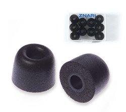 ZNARI Earphone Earbud Foam Tips - T500 - Medium Size 10 Black 1 Red 1 Blue - 6 Pairs