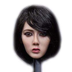 "Hiplay 1 6 Scale Female Figure Head Sculpt Asia Female Doll Head For 12"" Action Figure Phicen Tbleague Ht HP042 B: Black Short Hair"