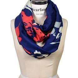 Vibrant Scarfand Painting Artistic Print Infinity Scarf Floral Blue