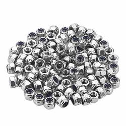 Favordrory M3 X 0.5MM 304 Stainless Steel Self-lock Nylon Inserted Hex Lock Nuts Self Clinching Nuts 100 Pcs