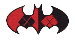"""DC Comics Batman Harley Quinn Logo 2.5"""" X 4"""" Embroidered Patch Can Be Ironed Or Sewn On With Free Gift Bag"""