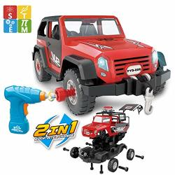 FYD 2IN1 Take Apart Jeep Car Stem Learning Assembly Playset With Functional Battery-powered Drill - Early Childhood Developmental Skills Construction Toy For Boys Kids