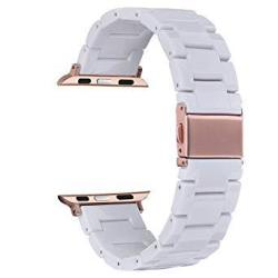 V-moro Resin Band Compatible With Apple Watch Band 42MM 44MM Iwatch Series 4 3 2 1 With Stainless Steel Buckle Replacement Wrist