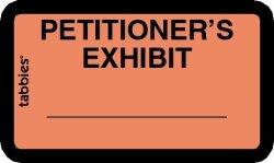 """TABBIES Exhibit Labels Petitioner's Exhibit Orange 1-5 8"""" X 1"""" 252 Labels Per Package"""