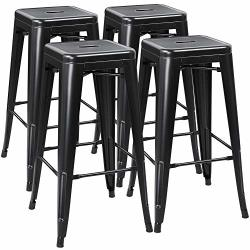 Yaheetech 30 Inches Metal Bar Stools High Backless Stools Bar Height Stools Patio Furniture Indoor outdoor Stackable Kitchen Sto