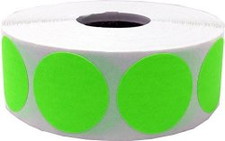 InStockLabels.com Color Coding Labels Fluorescent Green Round Circle Dots For Organizing Inventory 1 Inch 500 Total Adhesive Stickers