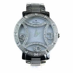SA106 Large Rhinestone Bling Luxury Hip Hop Baller Iced Out Metal Wrist Watch Silver