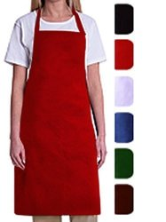 Bib Aprons-mhf APRONS-1 Piece PACK-2 Waist Pockets- New Spun Poly-commercial Restaurant Kitchen- Red