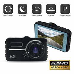 "1080P HD Car Dash Cam By Xsjq 3"" HD Screen 170 Wide Angle Dashboard Camera With G-sensor Loop Recording Parking Guard"