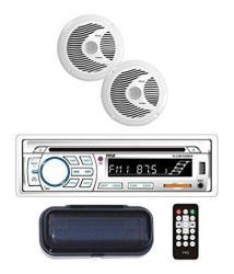 Marine Stereo Receiver Speaker Kit - In-dash Lcd Digital Console Built-in Bluetooth & Microphone 6.5 Waterproof Speakers 2 W MP3