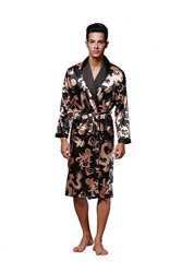 c24db05cb1 Lavenderi Men s Elastic Satin Robe Dragon Luxurious Silk Spa Long Sleeve  House Kimono Bathrobe Black S