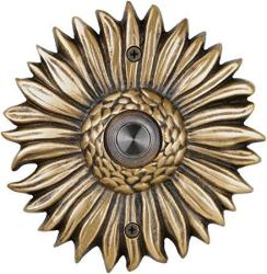 Waterwood Solid Brass Sunflower Doorbell In Antique Brass