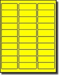"Label Outfitters Address Labels - - 1"" X 2-5 8"" - 20 Sheets - 600 Label- Fluorescent Yellow"