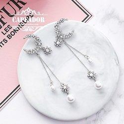 WOLF Uncle Silver Tassels Over 58 Five Star Full Moon Diamond Earrings 925 Needles Earrings Earrings Female