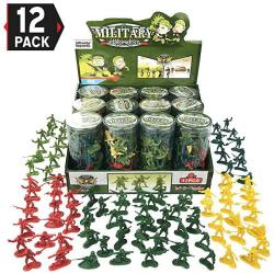 USAB Liberty Imports Value Bundle 12 Tubes Of Action Figures Army Men Soldiers In MINI Buckets Bulk Party Favors Supplies