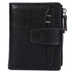 Women's Ainimoer Rfid Blocking Leather Small Compact Bi-fold Zipper Pocket Wallet Card Case Purse Lichee Black