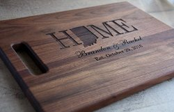 Engraved Personalized Wooden Cutting Board With State Shape Choose From Walnut Maple Or Cherry