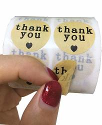Thank You Stickers-natural Kraft Paper With Black Hearts Appreciation Thanks Labels For Wedding FAVORS-1000 Adhesive Labels. 1 Inch Round Stickers