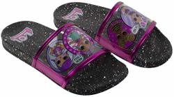 L.O.L Surprise Girl's Sandal Mix Match Baby Cat Merbaby Super Bb Crystal Queen Cosmic Queen And Queen Bee Slide Sandal Black Pin