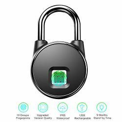 Fingerprint Padlock Biometric Anytek Smart Padlock IP66 Waterproof Fingerprint Lock USB Rechargeable Keyless Locker Locks For Gym Suitcase Cabinet Box Handbags School