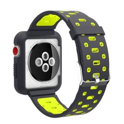 38 40MM Silicone Strap With Attached Case For Apple Watch - Black & Yellow