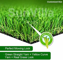"""Sunvilla 3'X3' Artificial Grass Realistic ? Customized Sizes ? Grass Height 1 3 8"""" Indoor outdoor Artificial Grass turf Many Siz"""
