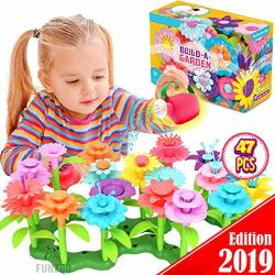 Funzbo Flower Garden Building Toys For Girls - Stem Toy Gardening Pretend Gift For Kids - Stacking Game For Toddlers Playset - Educational Activity