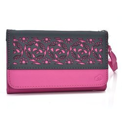 NuVur Wallet Case Pu Leather Hand Strap Card Slot For Blackberry Z10 Z30| Pink & Grey