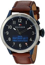 Tommy Hilfiger Men&apos S &apos Th 24 7&APOS Quartz Stainless Steel And Leather Smart Watch Color:brown Model: 1