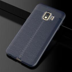 Litchi Texture Tpu Shockproof Case For Galaxy J2 Core Navy Blue
