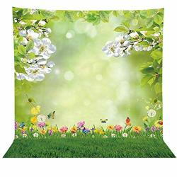 Allenjoy 8X8FT Spring Easter Bokeh Spot Photo Backdrop Green Grass Lawn Garden Flower Photography Background Baby Girl Kids Chil