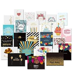Happy Birthday Cards With Gold Embellishments Design And 26 Envelopes - Unomor 24 Birthday Greeting Cards Assorted - 18 Birthday