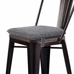 Baibu Super Soft Metal Dining Chair Pads Bar Stool Cushion With Ties For Metal Chairs Or Bar Stools - One Pad Only Gray 13.5X13X1.5IN