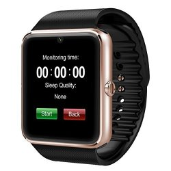 GT08 Touch Screen Slot Push Message Bluetooth Mate Smart Watch For Android Phone-gold Black