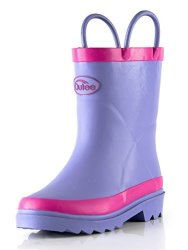 Outee Toddler Girls Kids Rain Boots Purple Natural Rubber Waterproof In Solid Color With Easy-on Handles Classic Comfortable Rem