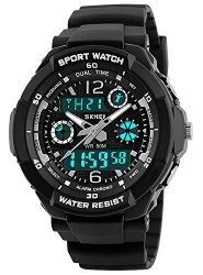 Skmei Sports Watch Multi Function Watch 50 Meters Waterproof LED Kids Watch Outdoor Sports Watches With Dual Time Wrist Watches For Boy Girl Gifts Silver Case