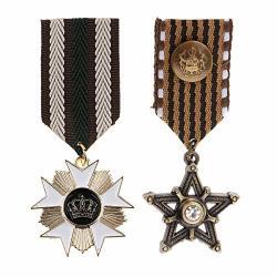 Prettyia 2 Pieces Vintage Crown Star Geometric Medal Badge Fabric Uniform Brooch