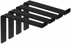 1 4 Thick Heavy-duty Shelf Brackets - Rustic Modern Farmhouse Iron Metal Wall Floating Brace Support With Lip For Diy Open Shelving - Includes Hardware
