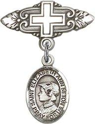 BLISS Sterling Silver Baby Badge Cross Pin With Saint Elizabeth Ann Seton Charm 3 4 Inch